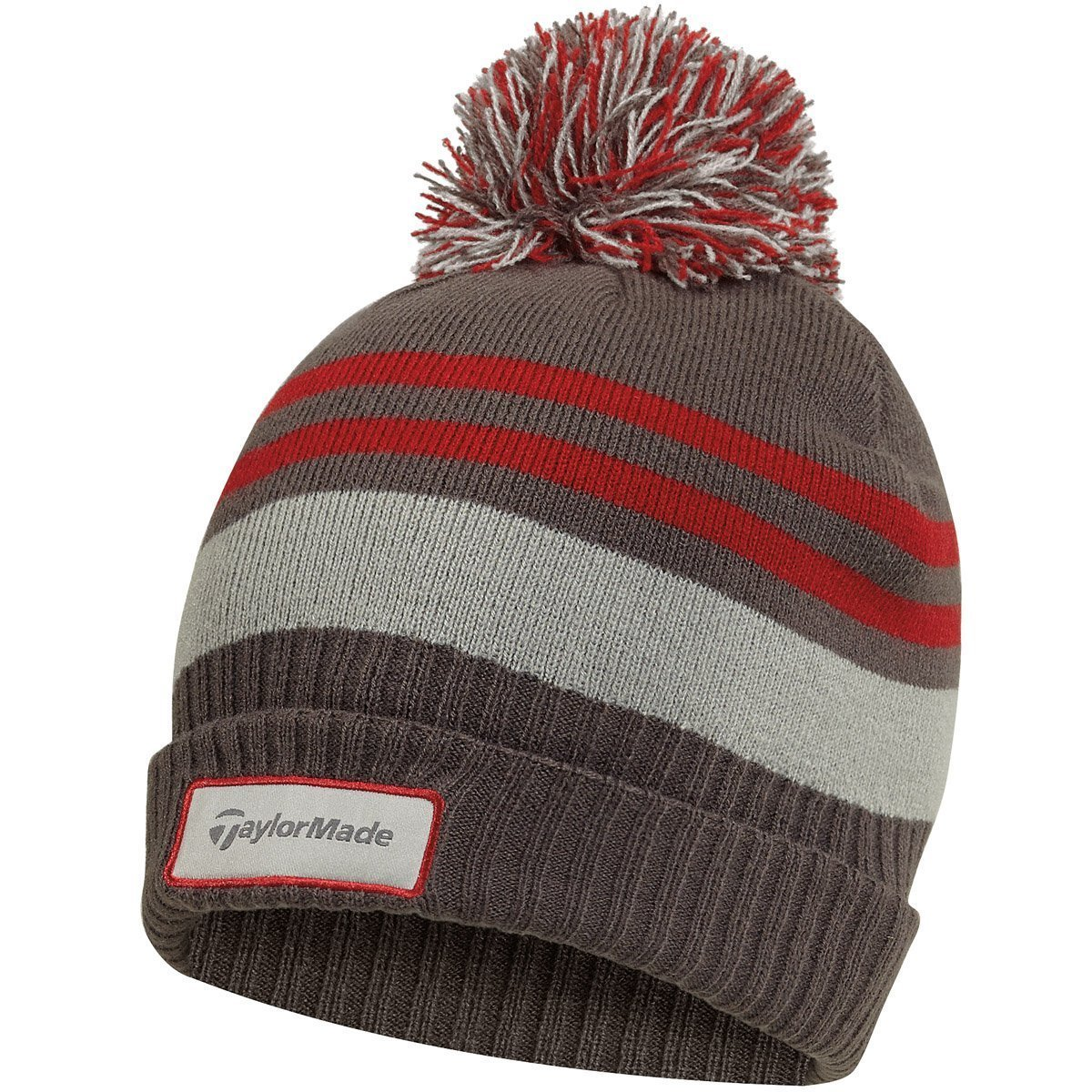 4d25dc09b0a9a Taylormade Mens Double Knit Thermal Striped Golf Beanie Bobble Hats ...