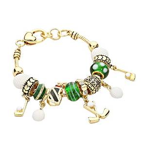 womens gold golf pandora style bead bracelet