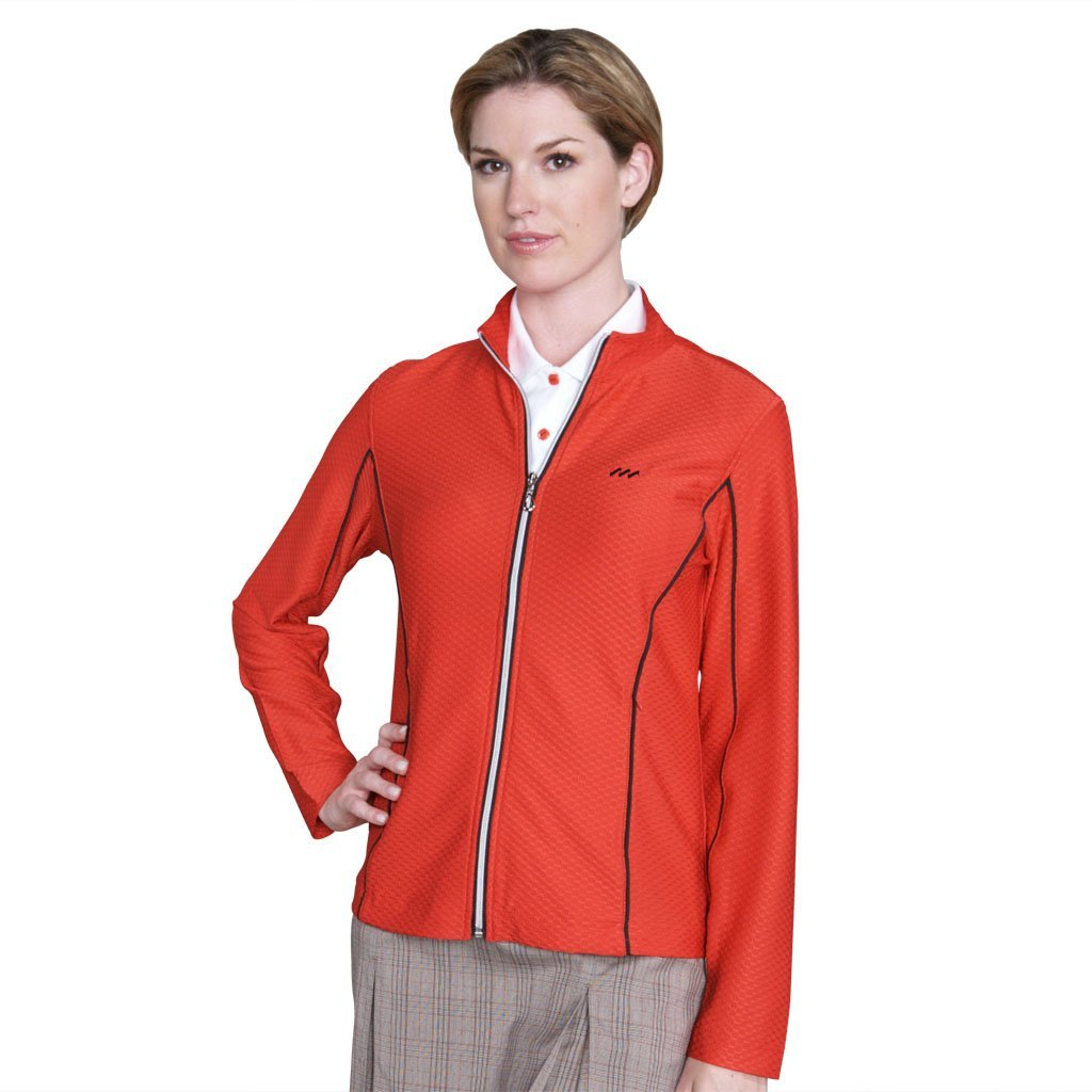 Womens Monterey Club Dry Swing Honeycomb Textured Piping Detail Zipup Golf Jackets