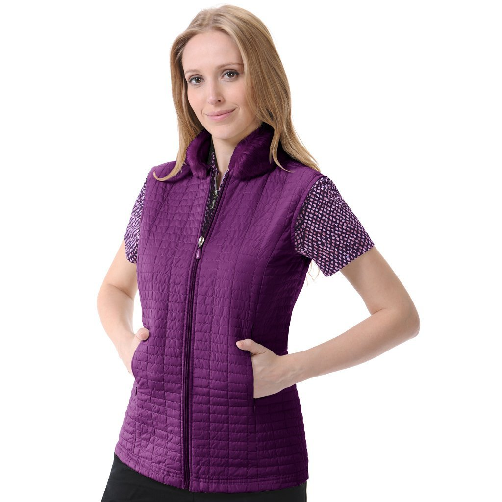 Womens Monterey Club Plaid Quilted Golf Vests