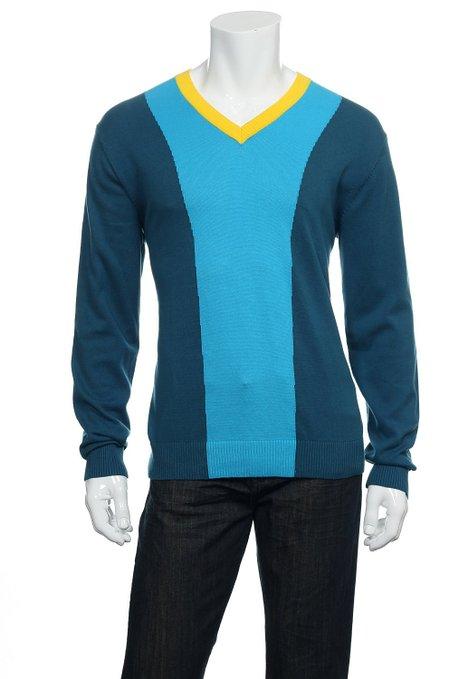 Mens Puma Color Block V-Neck Golf Sweaters
