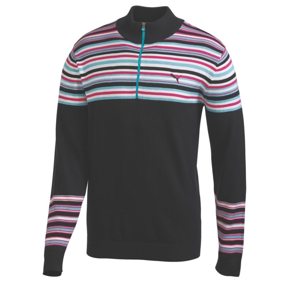 Mens Puma NA Stripe Half Zip Golf Sweaters