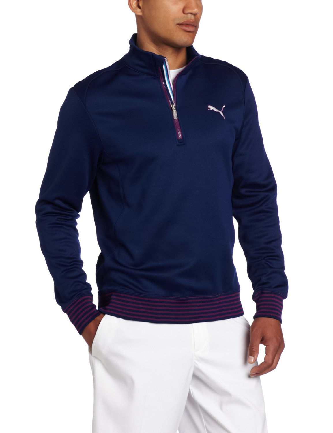 Puma mens quarter zip golf popover shirts for Mens puma golf shirts