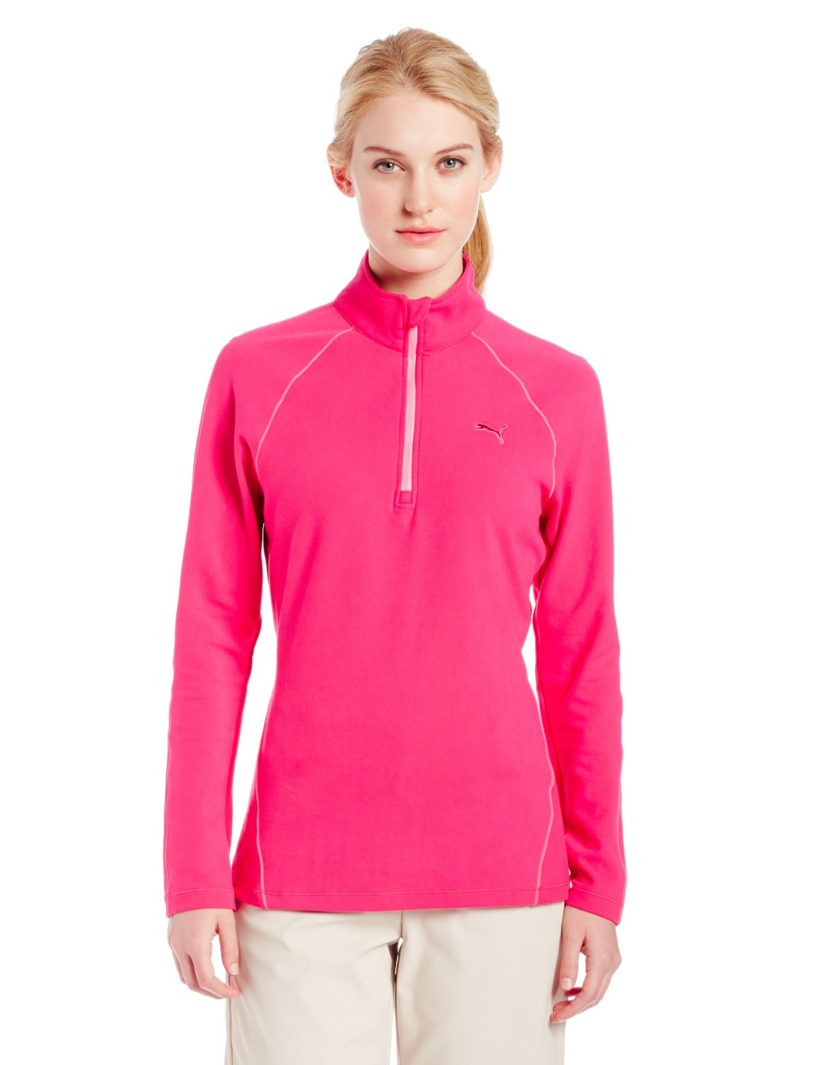 Womens Puma NA Long Sleeve Half Zip Golf Tops