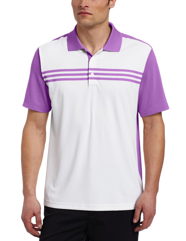 Adidas Mens Climacool 3 Stripes Color Block Golf Polo Shirts