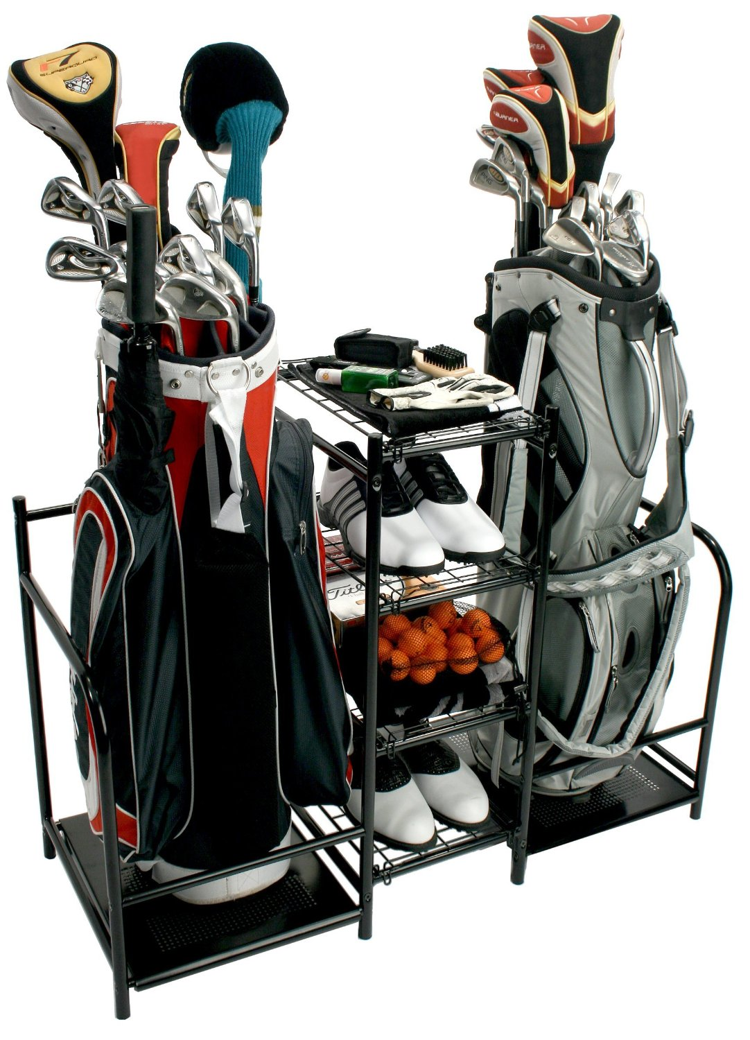 Bon ProActive Sports Dual Golf Bag, Gear And Equipment Storage Metal Organizers