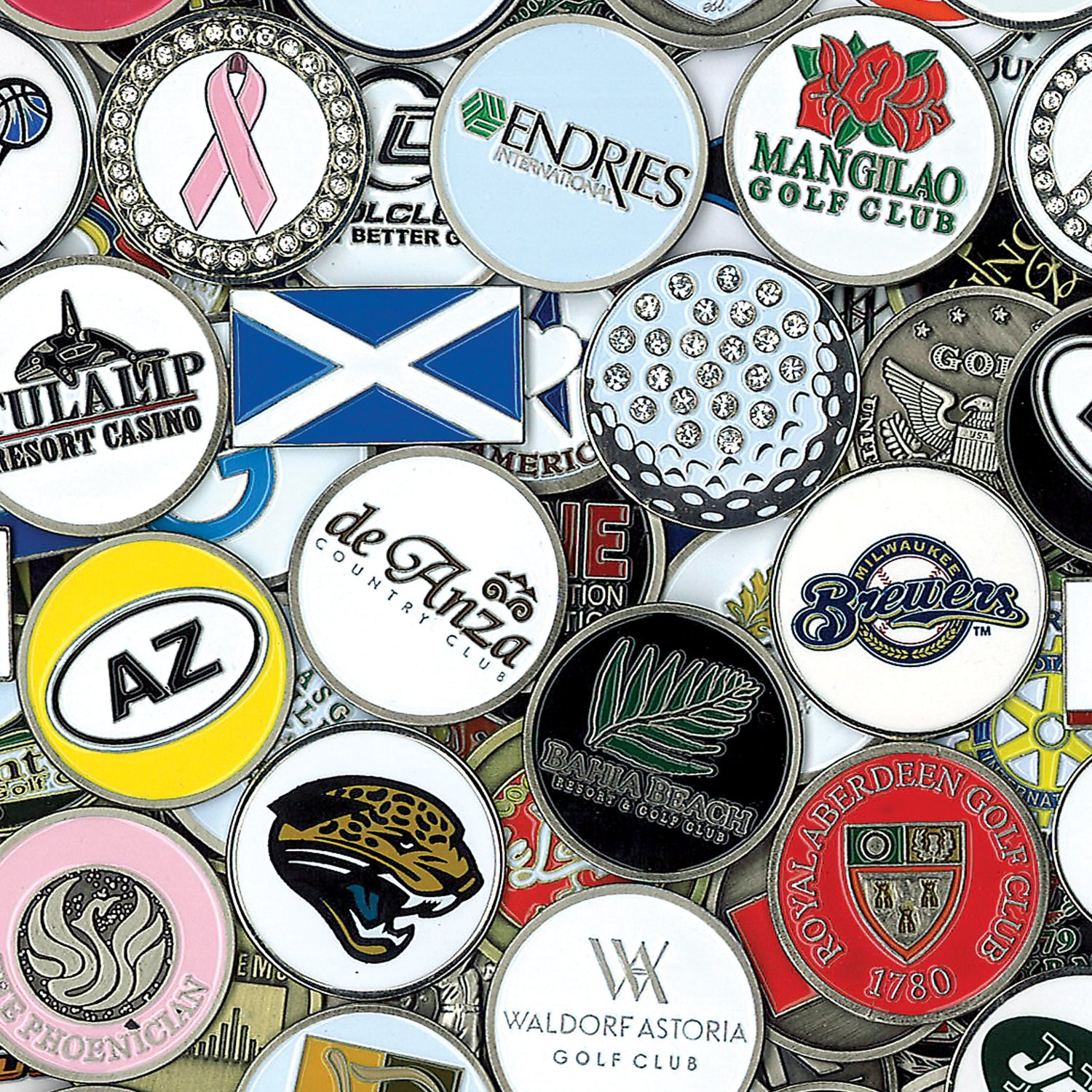ball markers. cmc golf ball markers assortment pack of 50