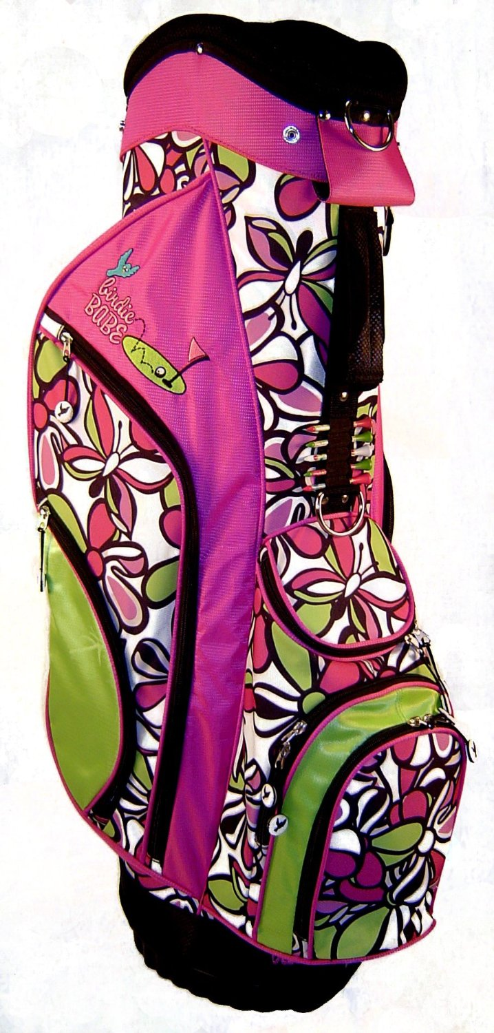 Womens Birdie Babe Bahama Mama Pink Flowered Golf Hybrid Cart Bags
