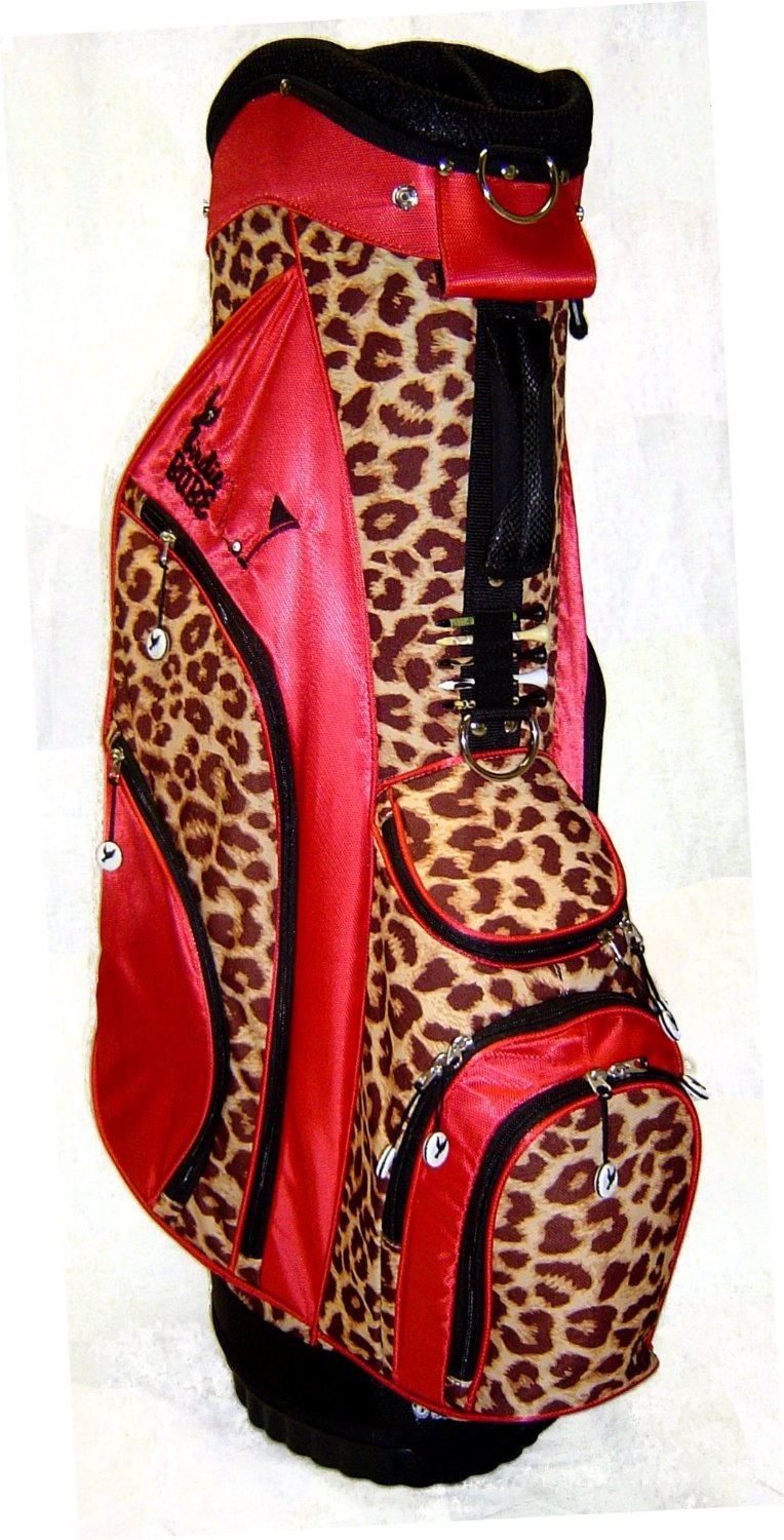 Womens Birdie Babe Jungle Queen Red Leopard Golf Hybrid Cart Bags