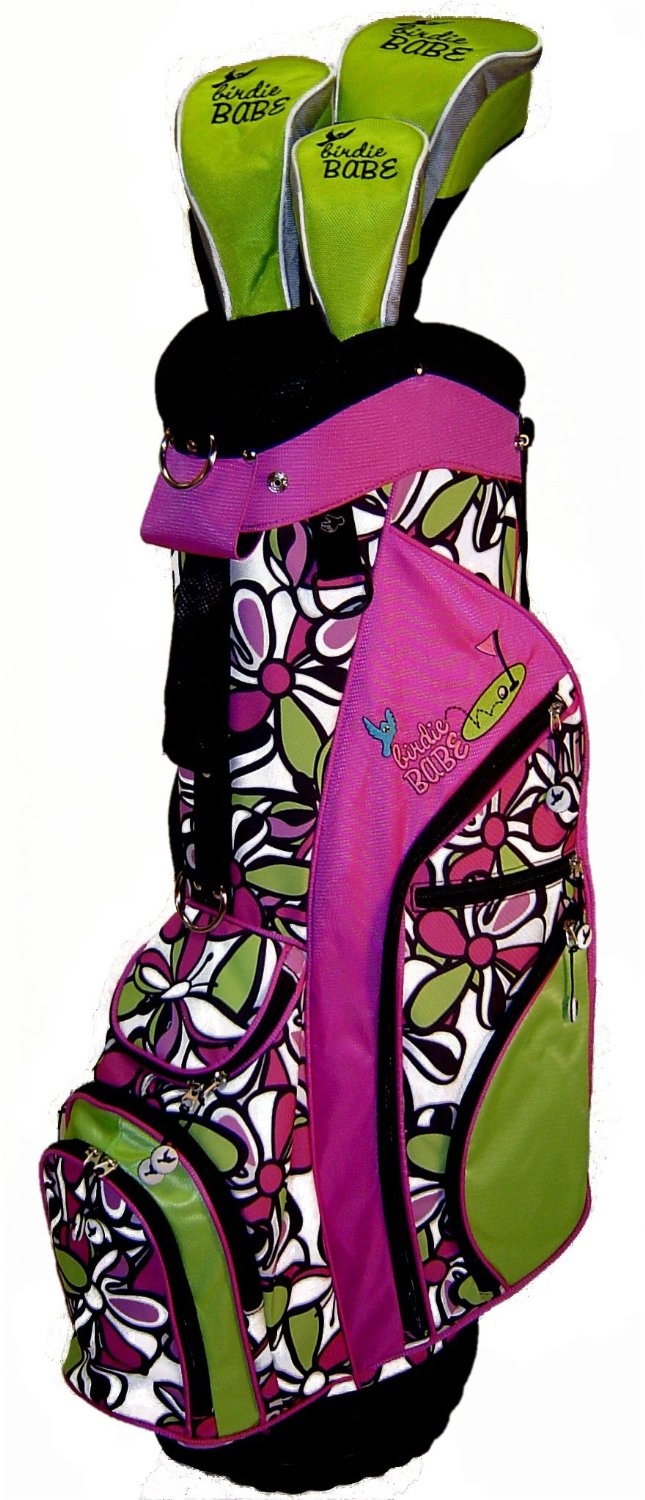 Womens Birdie Babe Pink Flowered Golf Hybrid Cart Bags with Headcovers