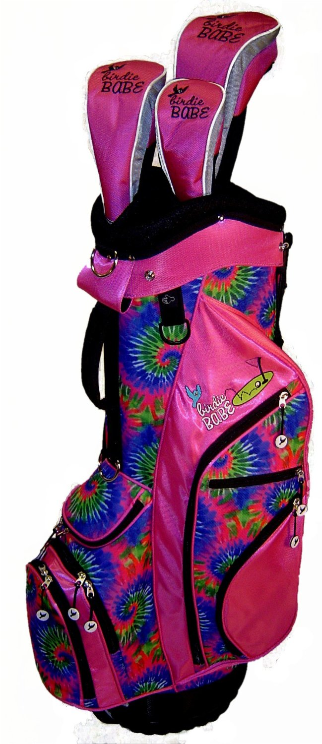 Womens Birdie Babe Pink Tie Dye Golf Hybrid Cart Bags with Headcovers