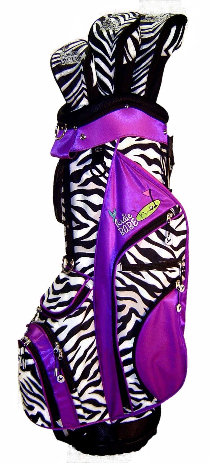 Womens Birdie Babe Purple Zebra Golf Hybrid Cart Bags with Headcovers
