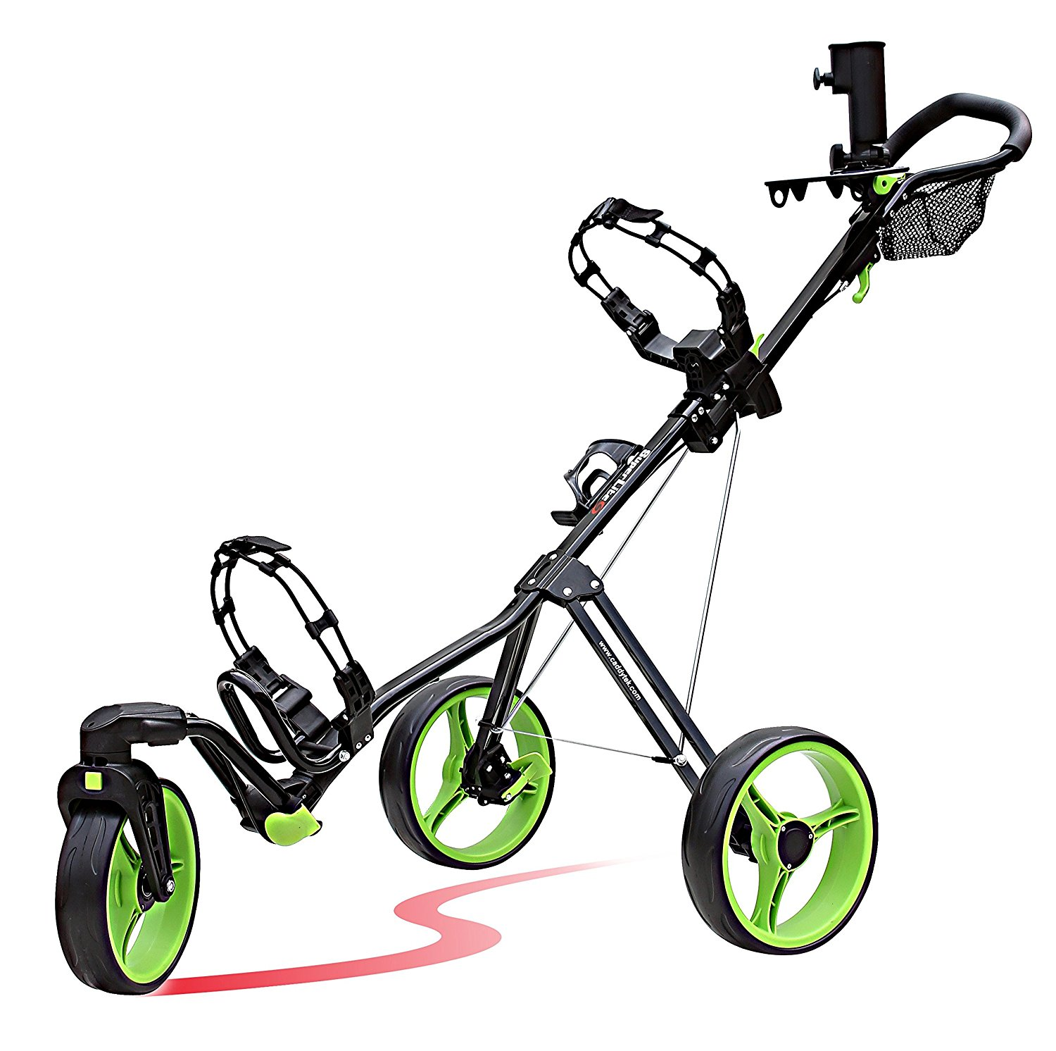 CaddyTek SuperLite Deluxe 3 Wheel Golf Push Carts with Swivel Front Wheel