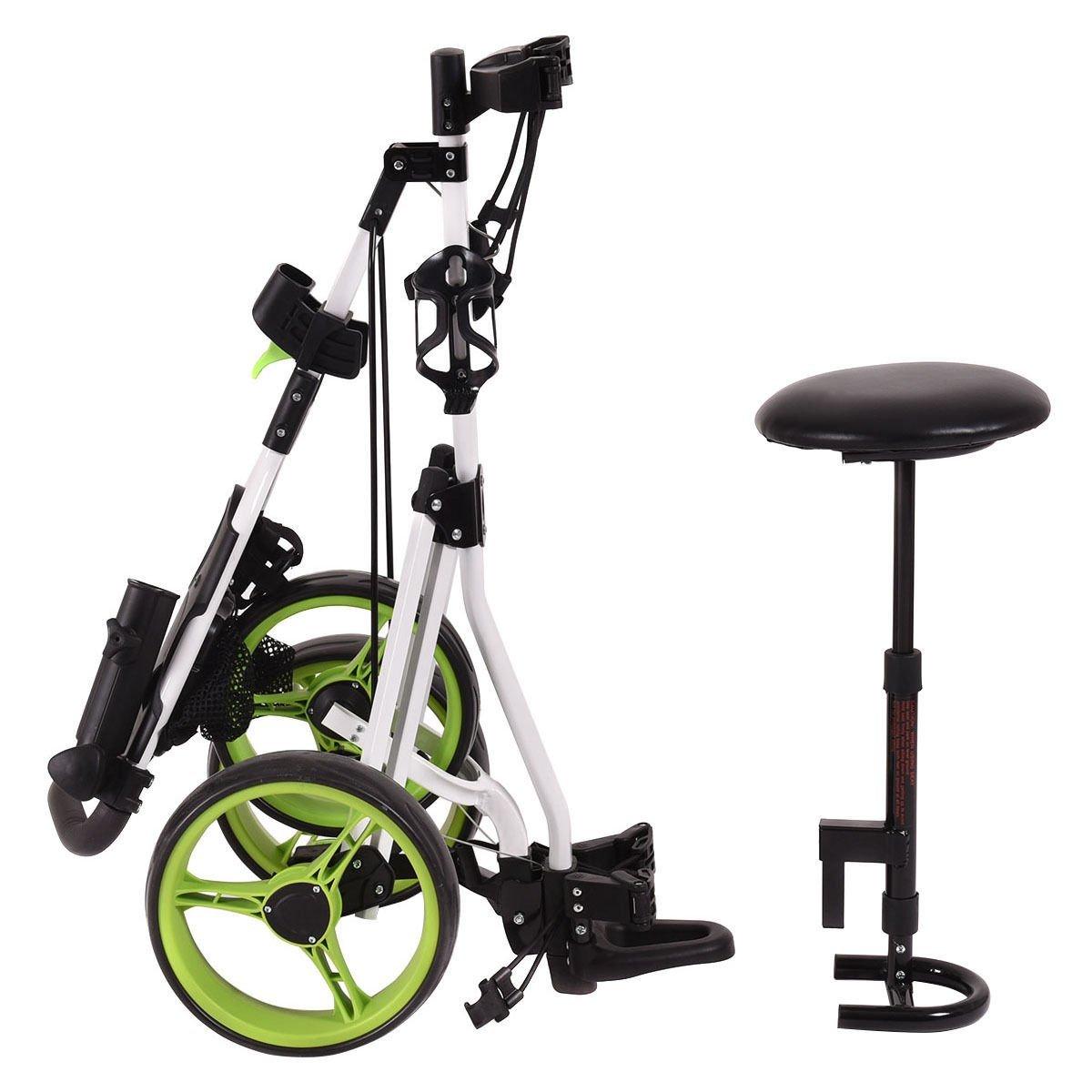 Tangkula Swivel 3 Wheel Push Pull Golf Trolley Carts