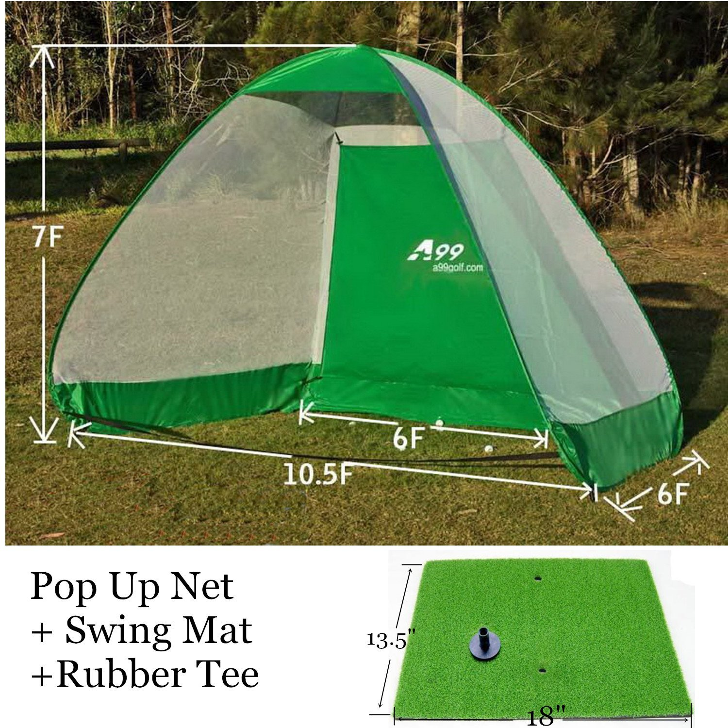 A99 Golf Pop-Up Practice Driving Net Cage and Swing Mat