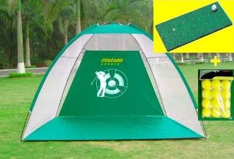 EliteCaddy 3-in-1 Golf Practice Net Hitting Cage and Driving Mat Training Aids