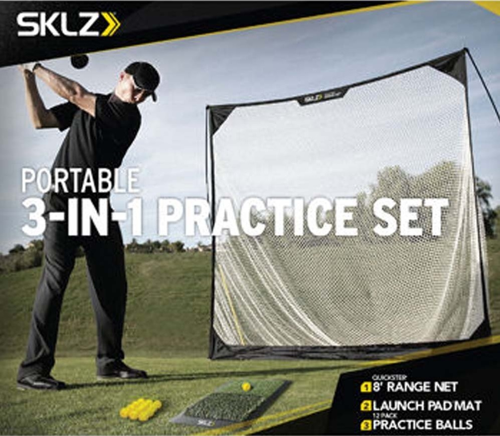 SKLZ 3-in-1 Golf Practice Set Hitting Mat Driving Net and Practice Balls