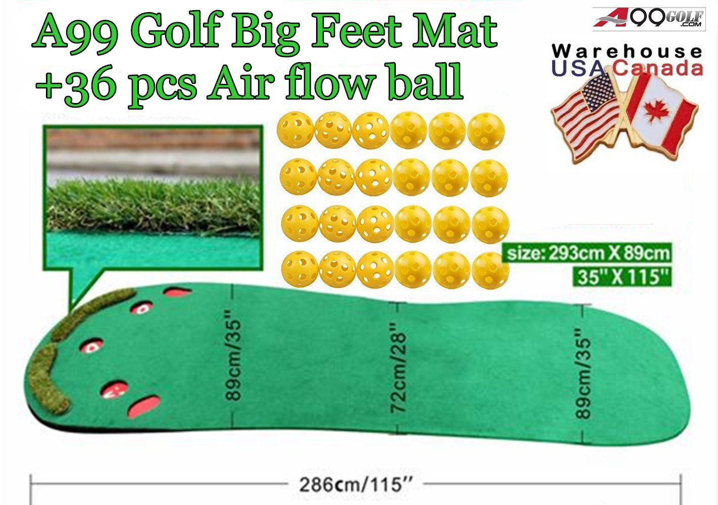 A99 Golf Big Feet Golf Practice Putting Green Mats