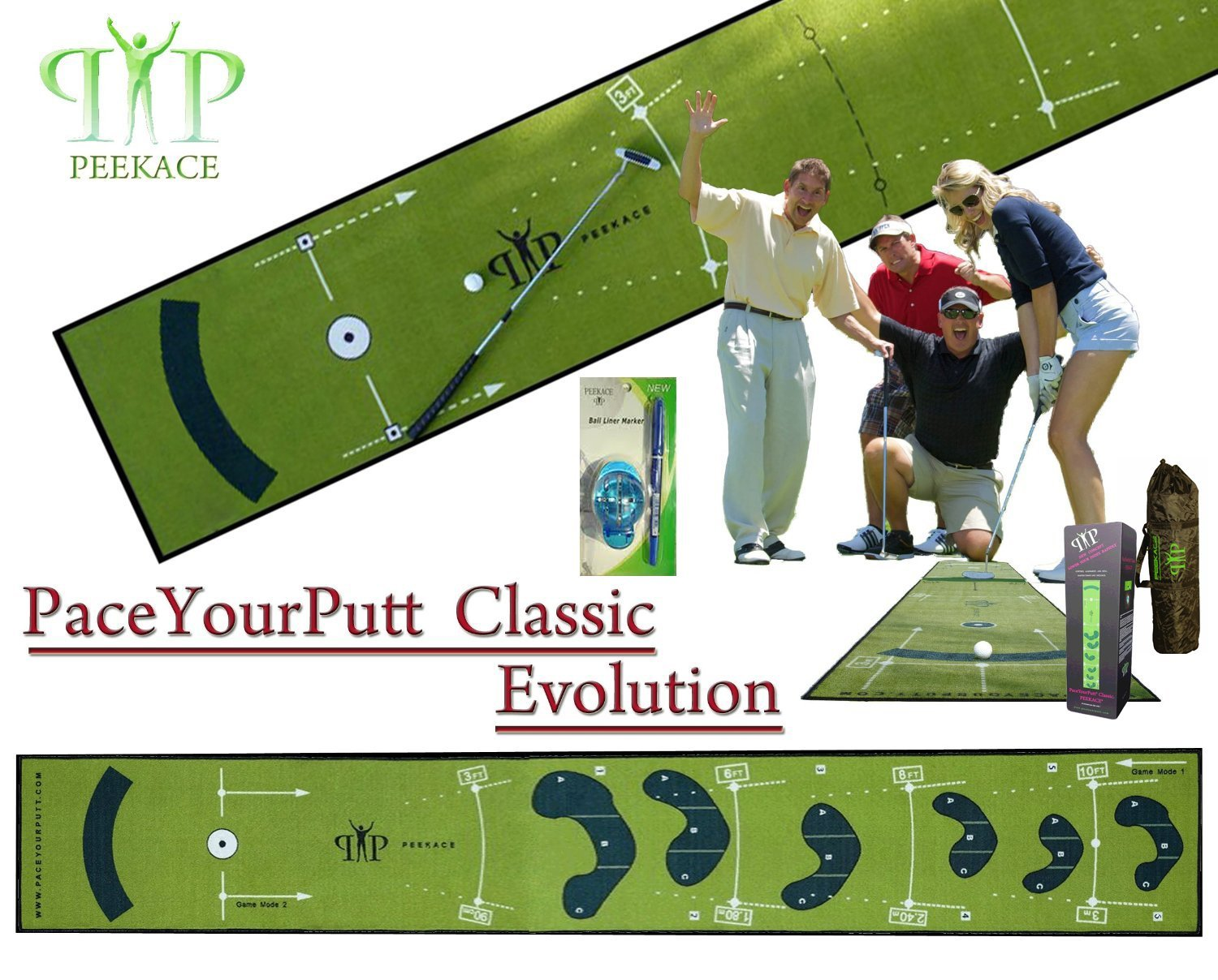 PeekAce PaceYourPutt Classi Evolution Golf Putting Mats